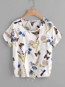 Butterfly Print Drawstring Top