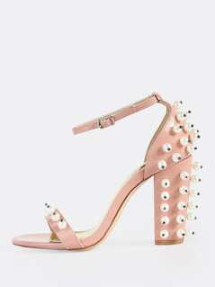 Embellished Pearl Ankle Strap Heels DUSTY PINK