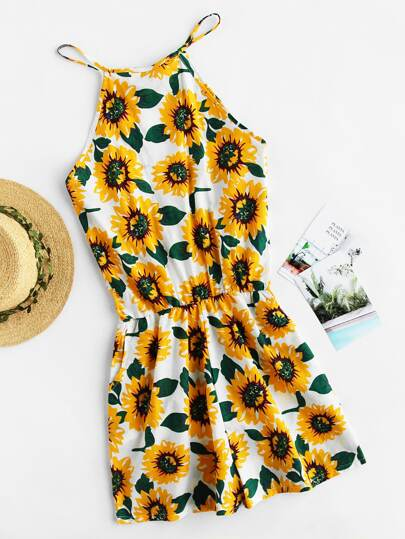 Sunflower Print Random Self Tie Split Back Romper