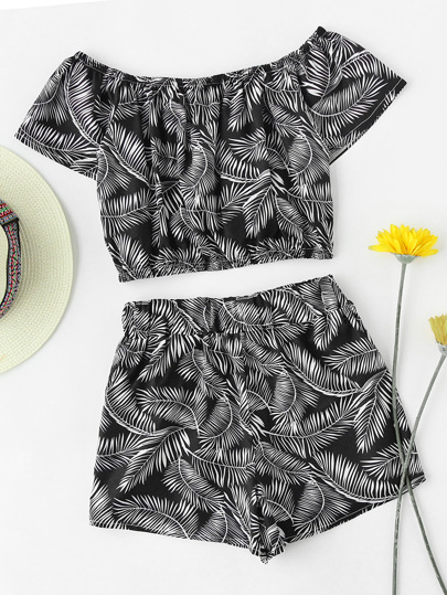 Off Shoulder Leaf Print Random Top And Shorts Set