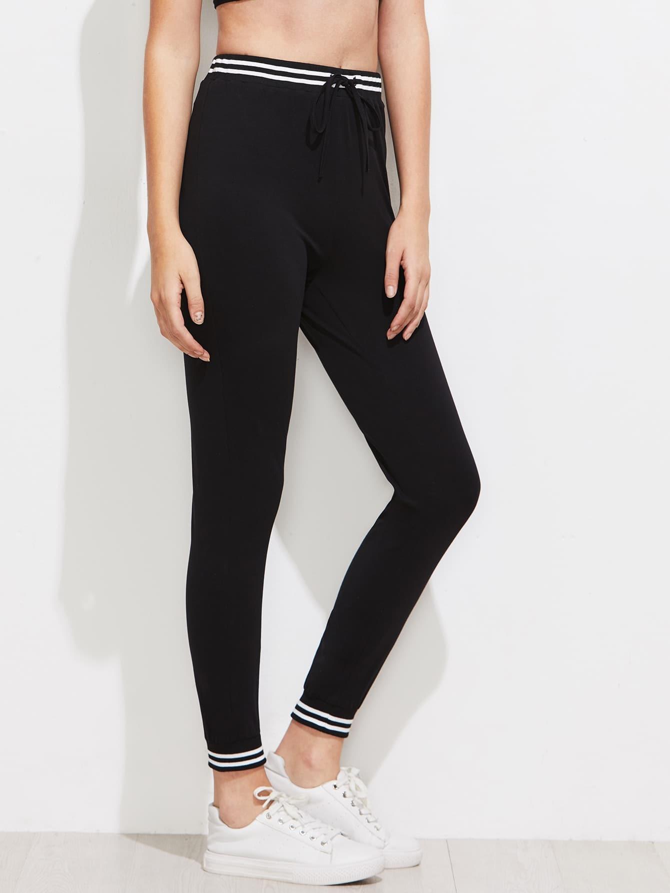 Varsity Striped Trim Skinny Sweat Pants pants170609708