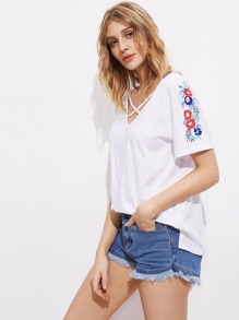 Crisscross Neck Drop Shoulder Flower Embroidered T-shirt