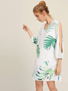 Tropical Print Split Sleeve Dress