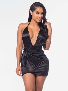 Plunging V-neckline Self Tie Satin Backless Dress