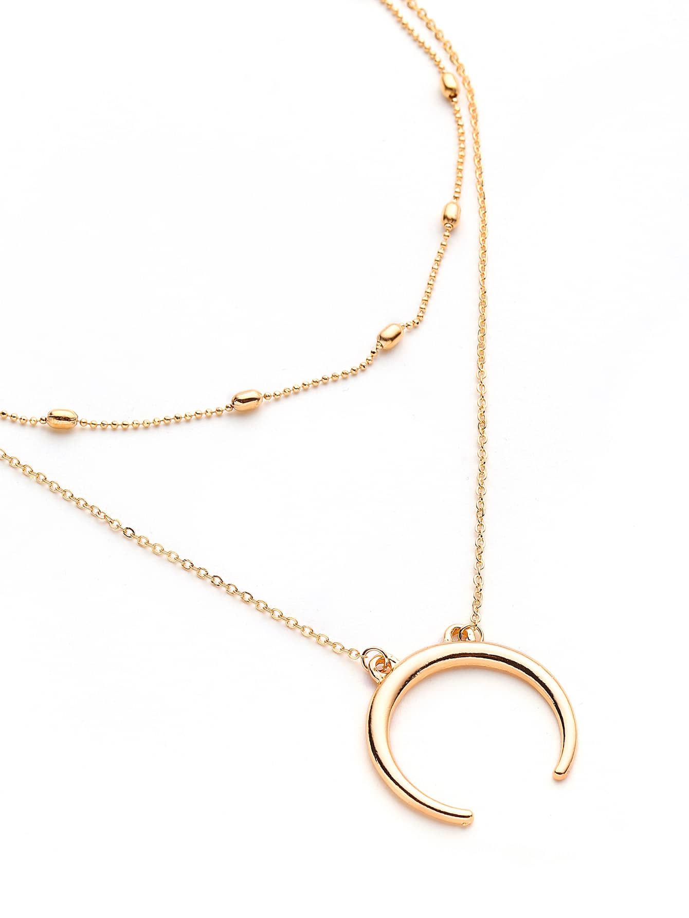 Metal Moon Pendant Necklace With Chain Choker