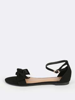Bow Front Sandal Flats BLACK