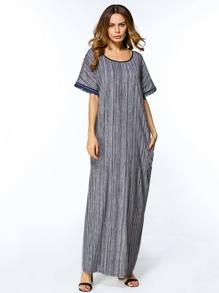 Striped Contrast Trim Fringe Sleeve Maxi Dress