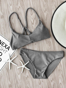 Braided Strap Beach Bikini Set