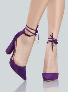 Closed Toe Ankle Wrap Heels PURPLE
