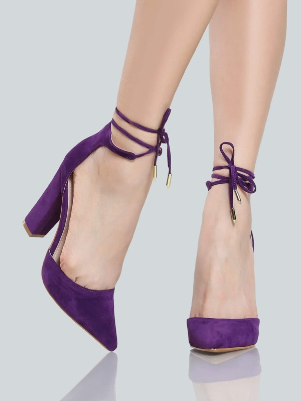 Closed Toe Ankle Wrap Heels PURPLE -SheIn(Sheinside)