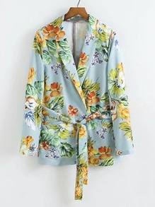 Floral Print Blazer With Self Tie