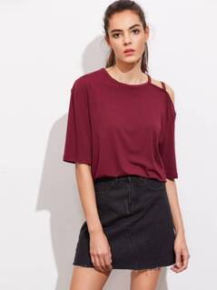 Asymmetric Strappy Open Shoulder Stepped Hem Tee