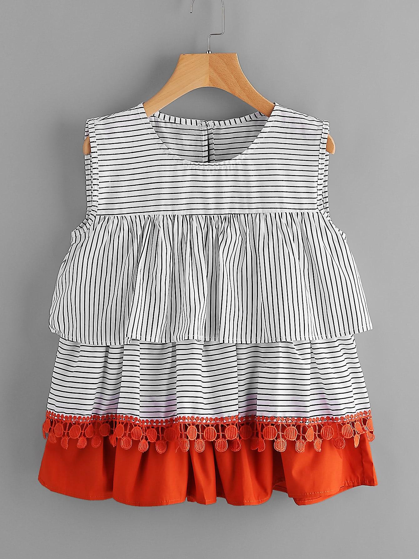 Contrast Crochet Trim Tiered Flounce Striped Blouse