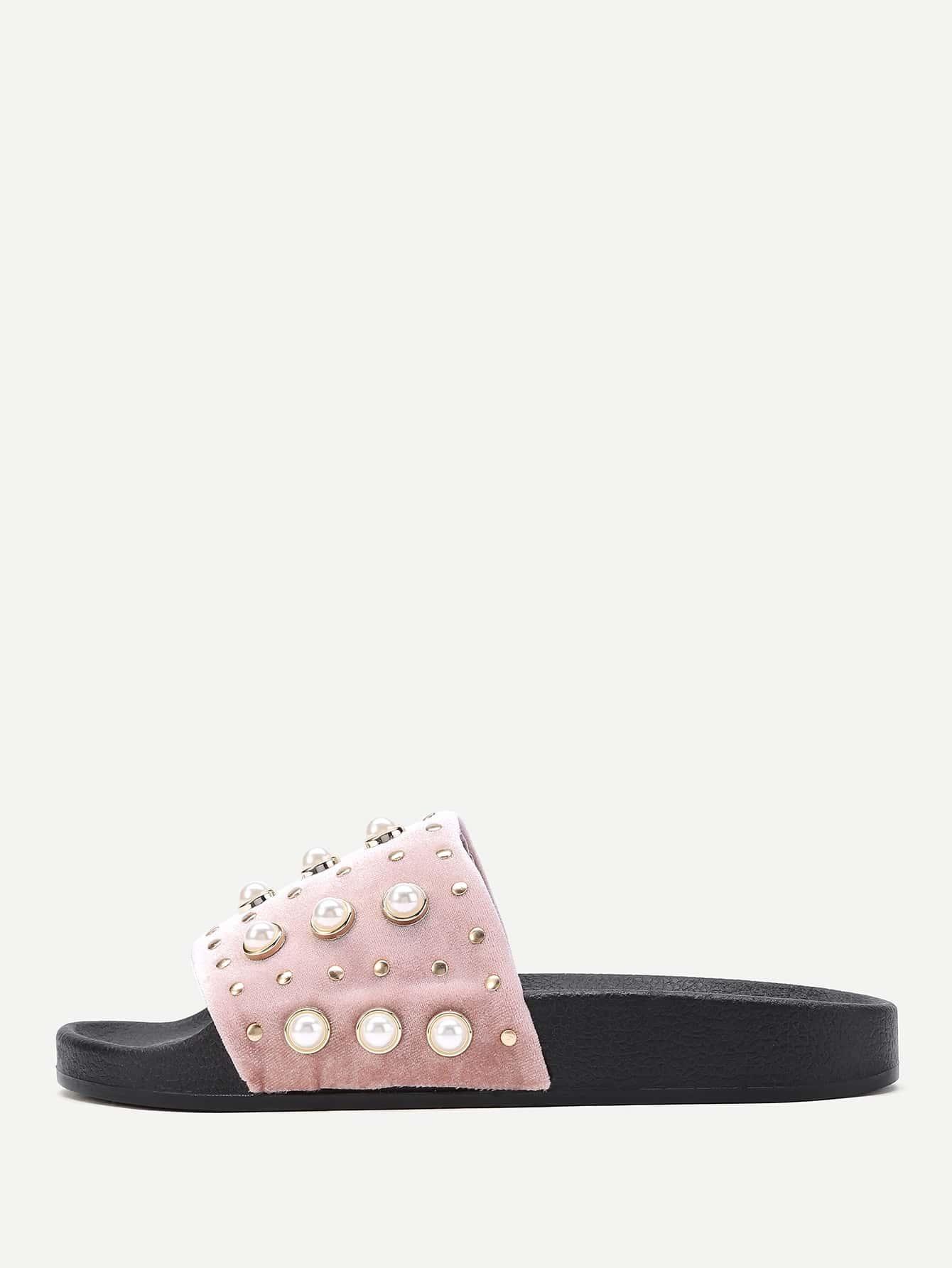Фото Faux Pearl Embellished Slip On Sandals. Купить с доставкой