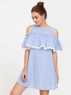 Open Shoulder Lace Trim Flounce Dress
