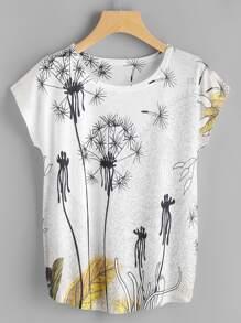 Tee-shirt manche dolman imprimé des pissenlit