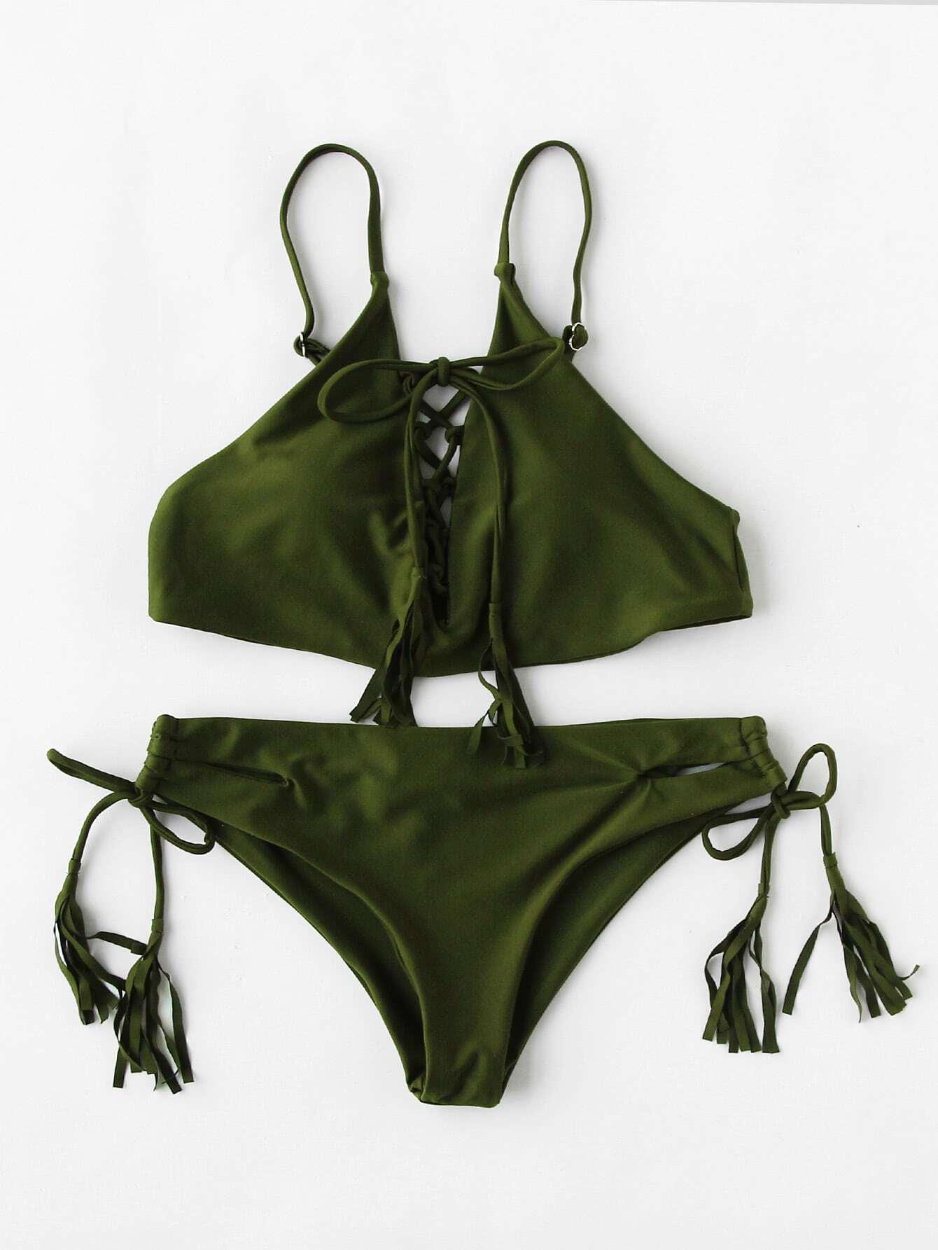 Фото Criss Cross Tassel Tie Bikini Set. Купить с доставкой