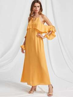 V Notch Tie Neck Flounce Trim Y Back Dress