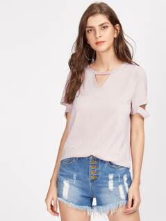 V Notch Cutout Sleeve Glitter Tee