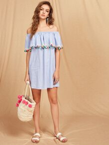 Tassel Trim Striped Flounce Bardot Dress