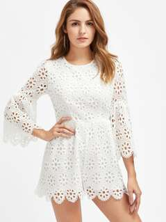 Trumpet Sleeve Scalloped Eyelet Floral Crochet Overlay Playsuit