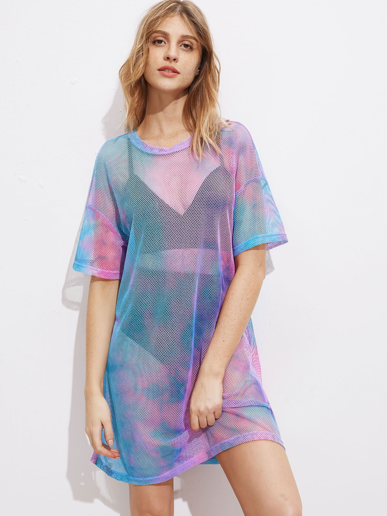 drop shoulder tie dye fishnet cover up dress makemechic