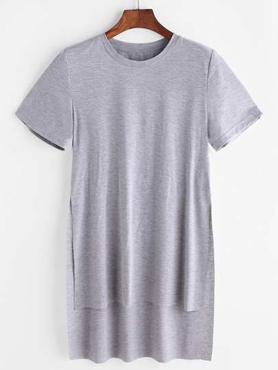 Split Side Stepped Hem Heathered Tee