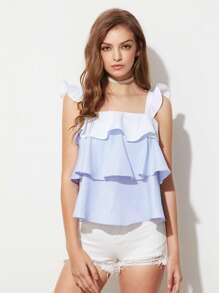 Contrast Ruffle Strap Layered Striped Pinafore Top