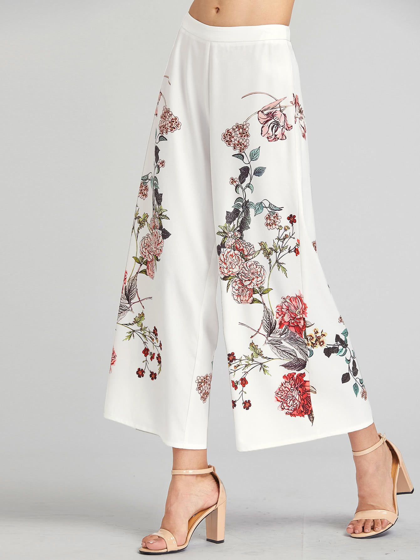 Botanical Print Zip Side Wide Leg Pants bow tie side wide leg pants