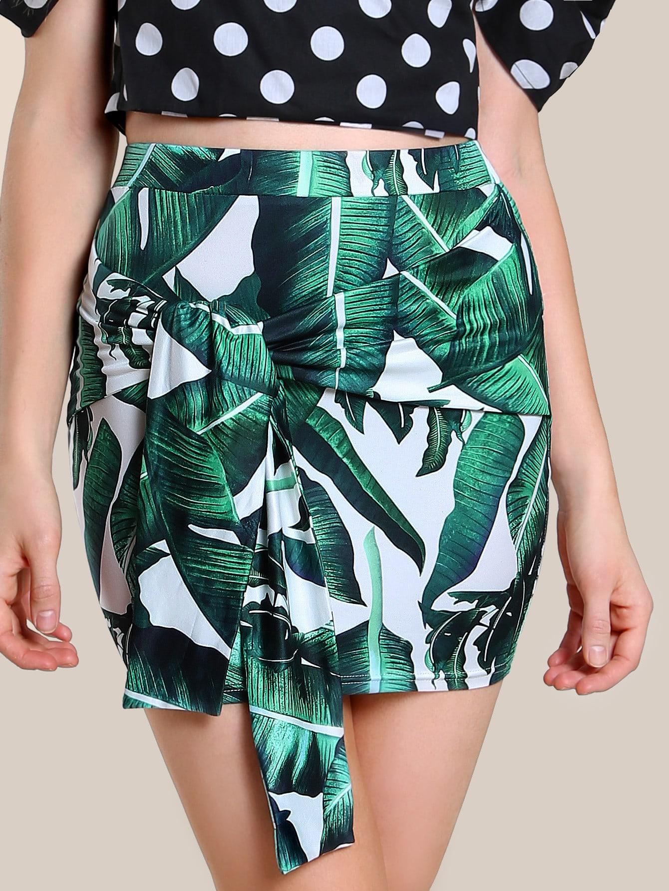 Фото Tropical Print Sash Tie Skirt. Купить с доставкой