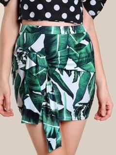 Tropical Print Sash Tie Skirt