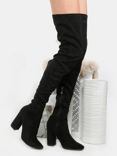 Faux Suede Chunky Heel Thigh High Boots BLACK