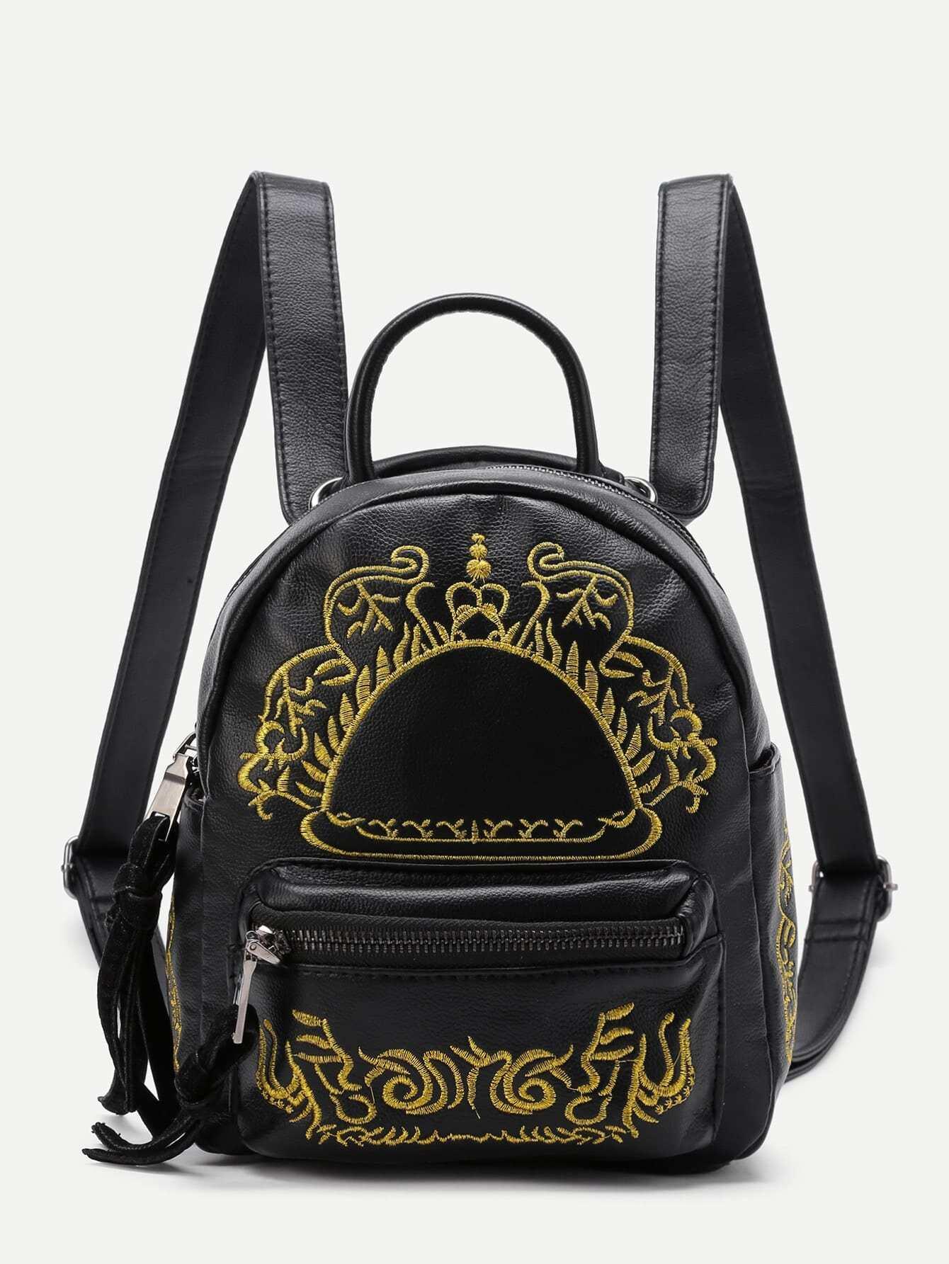 Фото Embroidery Detail Pocket Front PU Backpack. Купить с доставкой