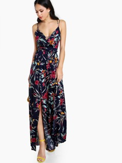 Floral Print Cross Back Jumpsuit NAVY