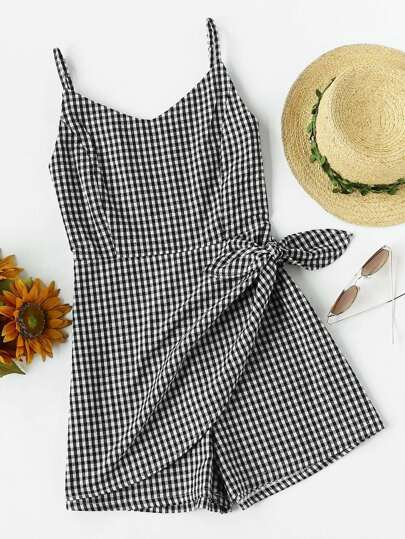 Gingham Print Knot Waist Cami Romper