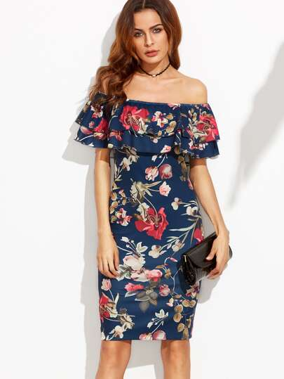 Flounce Layered Neckline Flower Print Dress
