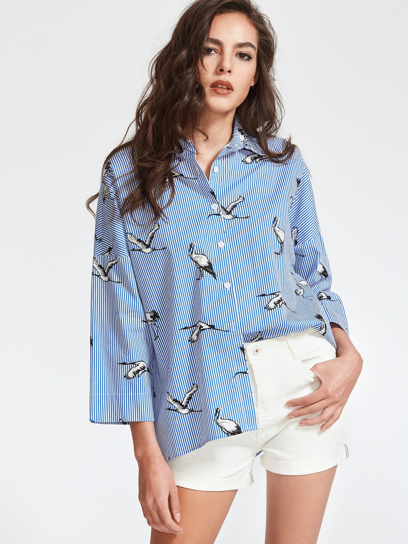 Pinstripe Crane Print Drop Shoulder Shirt