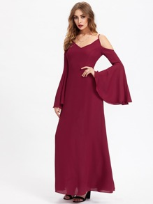 Double V Princess Seam Detail Exaggerated Bell Sleeve Dress