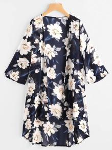 Allover Floral Print Kimono
