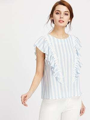 Фото Lace Applique Frill Cap Sleeve Keyhole Back Striped Top. Купить с доставкой