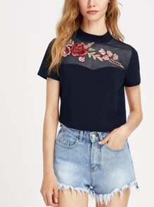 Embroidered Flower Applique Mesh Sweetheart Tee