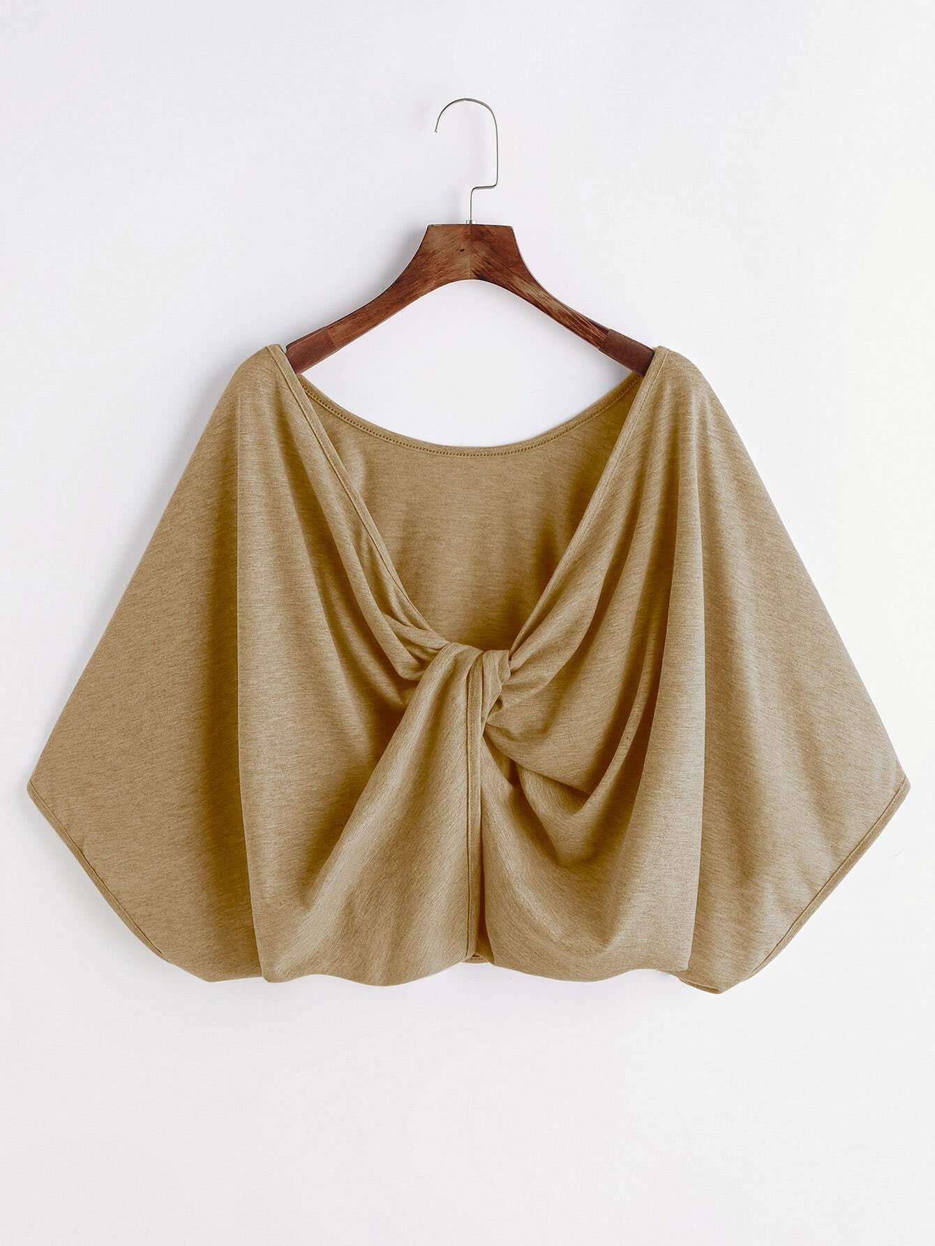 Фото Kimono Sleeve Twisted Drape Back Tee. Купить с доставкой