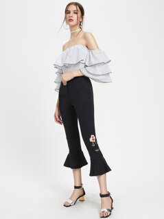 Embroidered Flower Patch Cropped Flare Pants