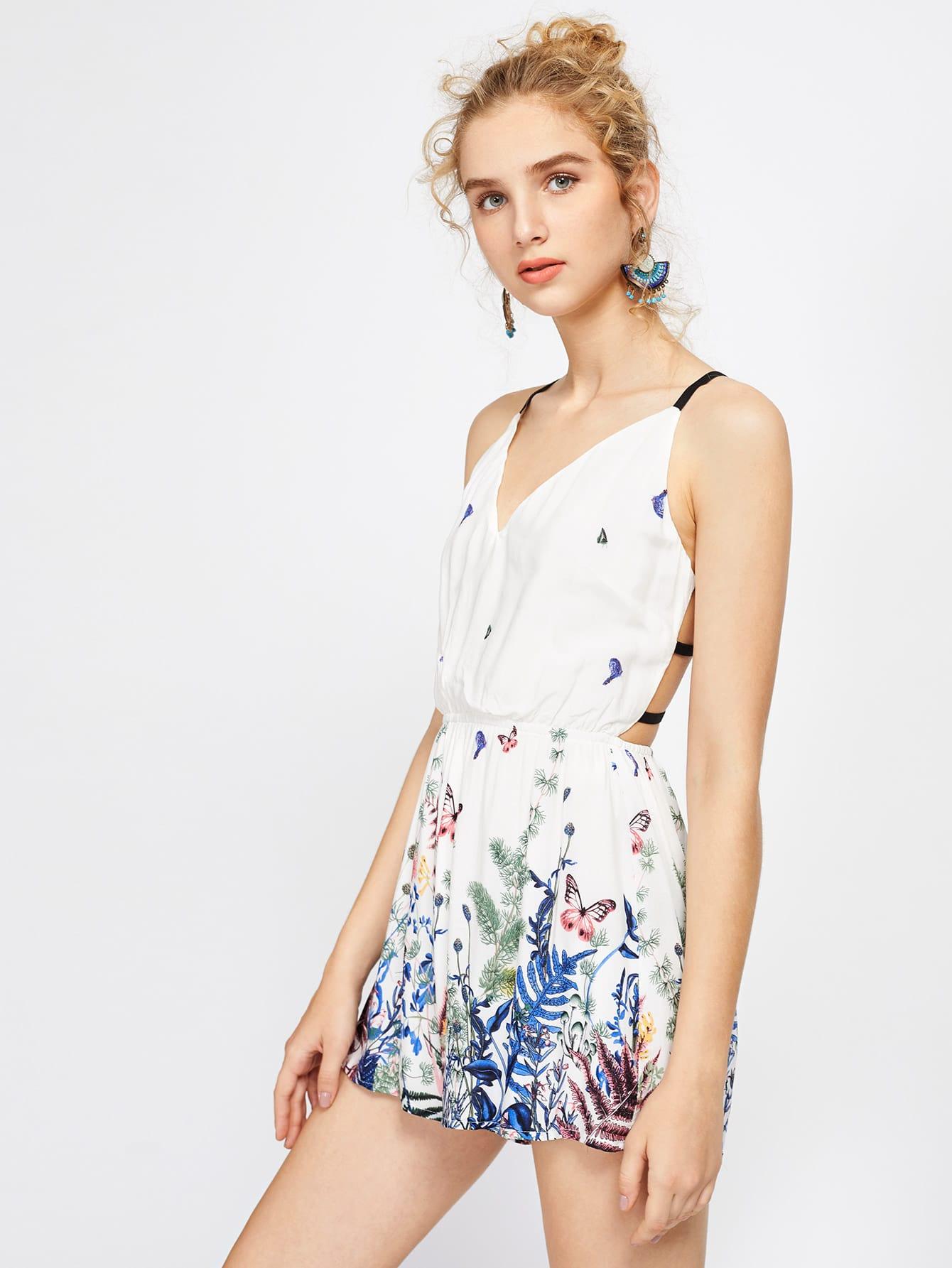 Фото Cami Straps Floral Print Caged Back Playsuit. Купить с доставкой