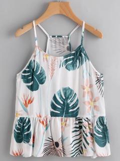Tropical Print Ruffle Hem Cami Top