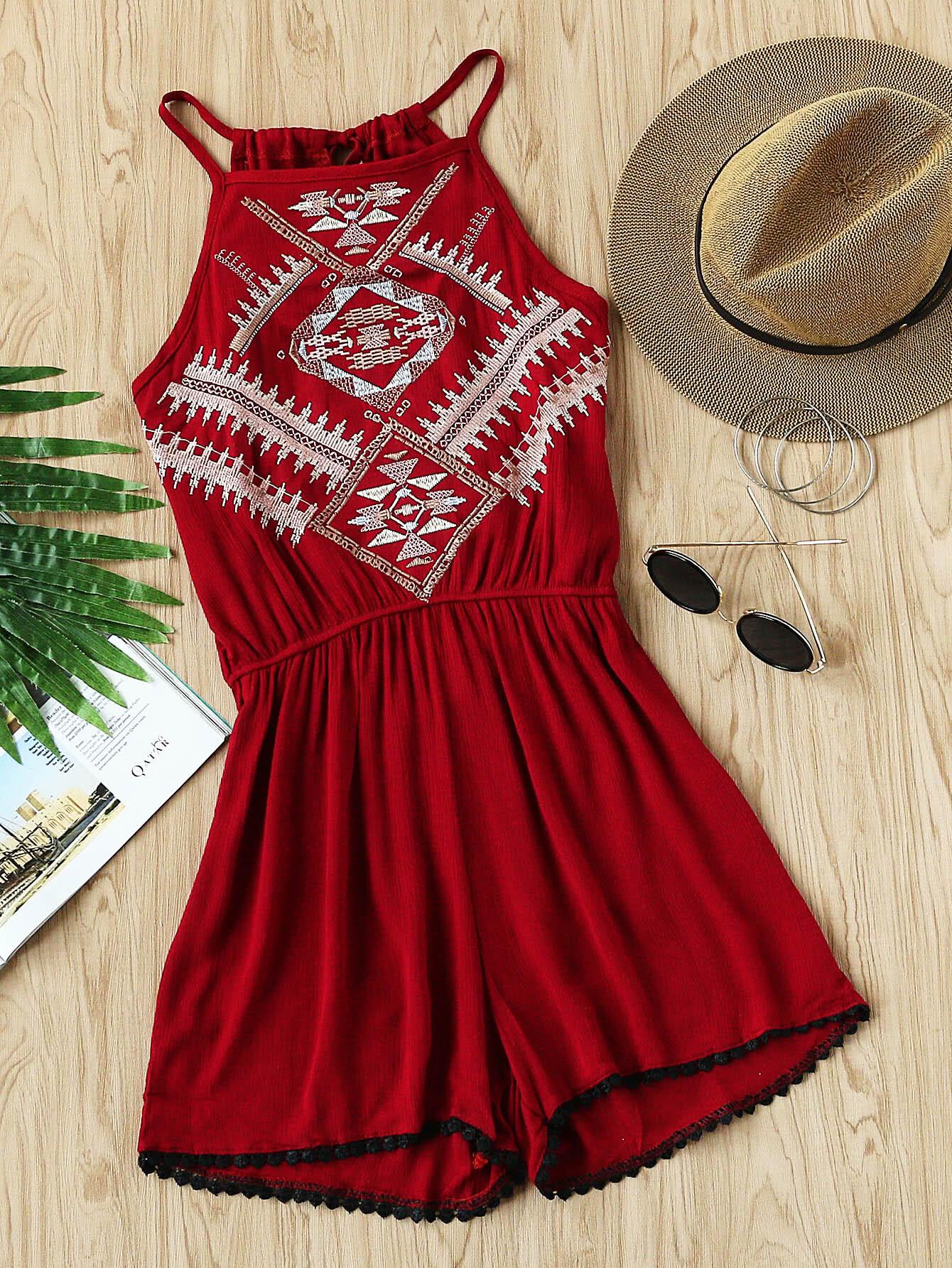 Фото Aztec Embroidered Lace Hem Tie Back Pleated Romper. Купить с доставкой