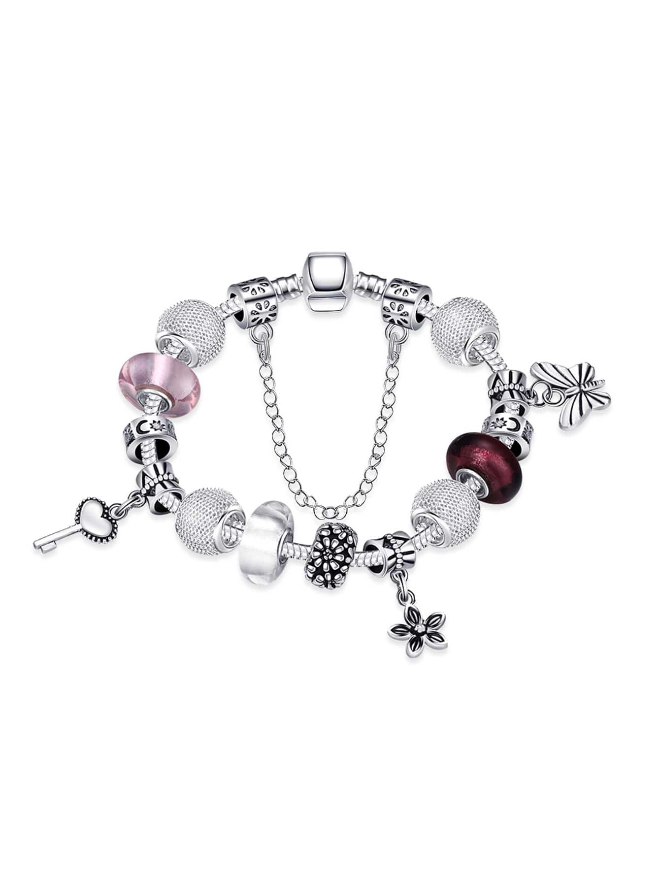 Butterfly And Chain Detail Bracelet artificial leather chain butterfly bracelet watch