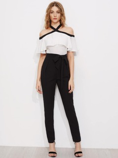 Two Tone Self Belt Flounce Detail Tailored Jumpsuit