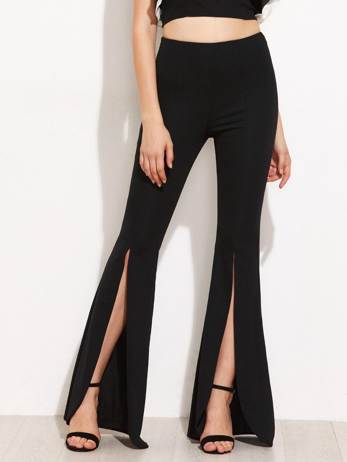 Split Front Flared Pants zip back flared pants