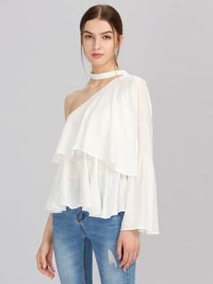 Oblique Shoulder Ruffle Layered Top